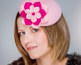 Pale pink felt percher hat, one of a kind button hat