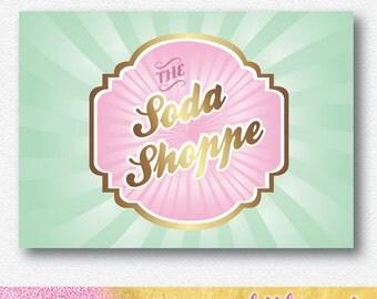 Vintage Soda Shop party backdrop | A1 size pdf