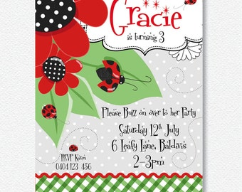 Lady Bug/Beetle Invitation |  Personalised Digital file