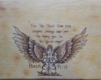 Wood Burned, Pyrography, Psalm 91