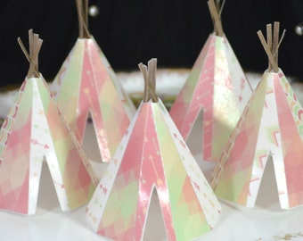 Edible Teepee's 3D x5 Boho Coral Spring Lime Tipi Wafer Paper Bohemian Wedding Cake Decorations Wild Girl Rustic Birthday Cupcake Topper RTD
