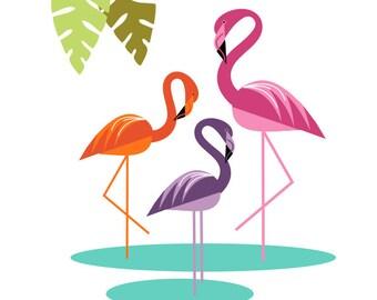 Tropical Flamingo Vinyl Wall Decal - Teen's or Beach Theme Room Wall Sticker