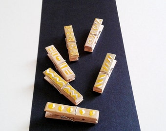 Gold Clothespins,Painted Clothespins,Wooden Clothespins,Washi Tape Clothespins Crafts,Bamboo Mini Clothespins,Red,Yellow