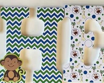 safari animal wood letters, baby nursery wall letters, jungle name letters, Theo, name letters for wall, giraffe, monkey, decorative letters
