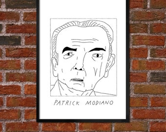 Badly Drawn Patrick Modiano - Literary Poster - *** BUY 4, GET A 5th FREE***