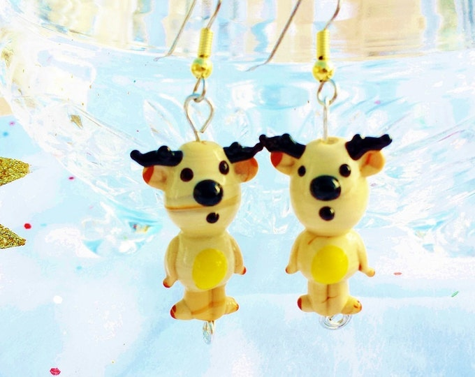 Christmas Earrings, Cute Rudolph Reindeer Lampworked Glass Dangles, Fun Holiday Earrings, Casual Winter Jewelry