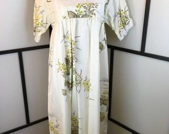 Floral Dress, White Vintage Dress, Ruffle Dress, Women's Dress, Cotton Dress, Large
