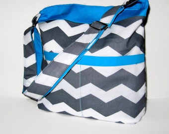 CROSS BODY BAGS, Cross Body Purses, Chevron Purses, Chevron Handbags, Gray And  White Chevron With Turquoise Accent, Made To Order