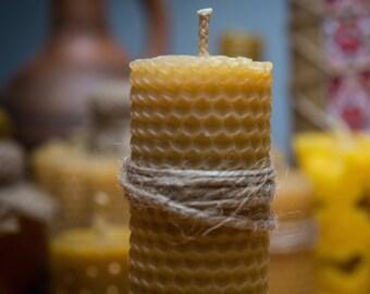 Large pillar beeswax candle.