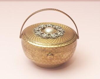 Powder Compact, Kigu Powder Compact, Kigu Bouquet Compact, Basket Compact, Rhinestones, Floral Wreath, Faux Pearl, Loose Powder Case - 1950s