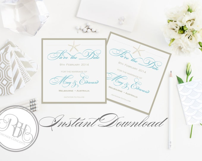 """Beachside Save the Date Wedding Template INSTANT DOWNLOAD-DIY Editable Text-Beach Starfish Turquoise & White-""""Natahlia in Turquoise White"""""""