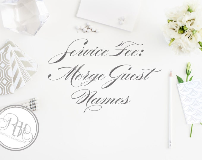 Merge Guest Names on Place Cards - Want us to merge your guests names onto our place cards for you and have as 1 printable file?