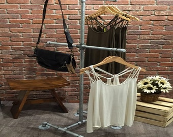 Industrial Pipe Clothing Rack - 4 Way - Galvanized Pipe