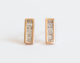 Vertical Baguette Bar Drop Earrings : Conflict free diamonds in a contemporary earring design made in white/rose,yellow recycled gold