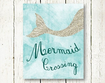 Mermaid nursery art | Etsy