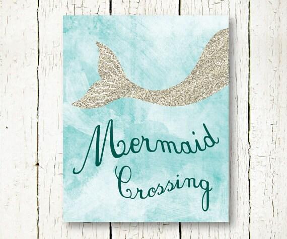Arthouse Glitter Detail Kids Girls Bedroom Wallpaper: Mermaid Printable Mermaid Poster Glitter Wall Decor Light