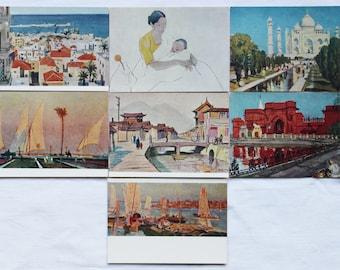 What we have seen abroad. Soviet artists in Asia. Set of 10 Vintage Soviet Postcards - 1962. Sovetskiy hudozhnik. Ponomarev, Ivanov, Osenev