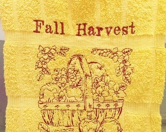 Fall Harvest Towels, Basket of Apples  Embroidered Hand Towel, Kitchen Towel, Thanksgiving Autumn Decor.