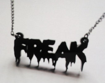 Black Acrylic Statement Horror Spooky Freak Halloween Necklace