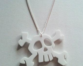 Skull White Acrylic Horror Pirate Spooky Bones Halloween Necklace