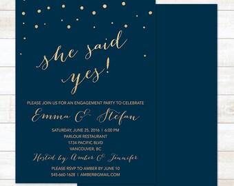 navy gold engagement party invitation, navy gold she said yes invitation, modern shower digital customizable invite