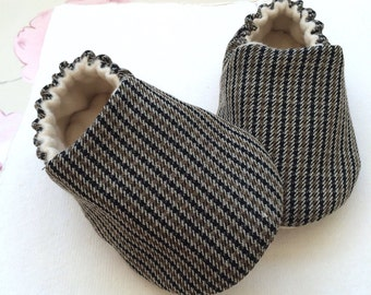 Tartan soft sole shoes,slippers.baby boys slip on shoes