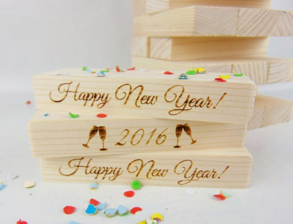 Happy New Year! Jenga Game (54), Wood Jenga, Engraved Jenga, New Year Party Game, Alternative Guest Book, 2015-2016, Champagne, Celebration