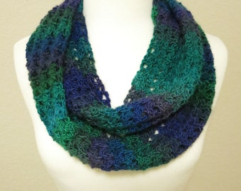 Blue and Green Crochet Infinity Scarf