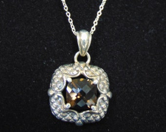 Womens Vintage Estate Sterling Silver Necklace w/ Pendant 6.7g #E2428