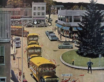 """1959 """"Glenville High Boosters"""" - Ben Prins Art - Small Town Football Team - Vintage 1950s Saturday Evening Post Magazine Cover Art"""