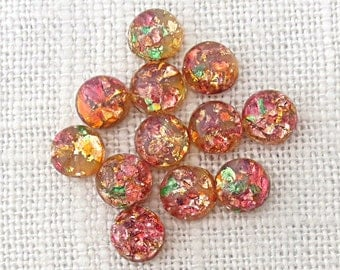 Pink Glass Fire Opal Cabochons, 7mm Rounds, Vintage Japanese Flat Back Glass Stones,  24 pc for Jewelry Making S022