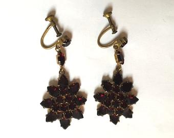 Garnet Dangly Earrings - Vintage