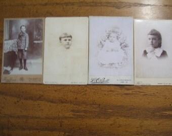 Antique Photos  Cabinet Card  Lot  4 Children
