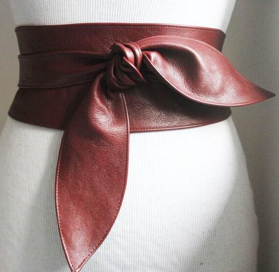 brown obi belt tulip tie corset belt leather tie belt wide