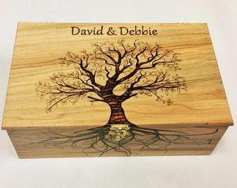 Custom Personalized Keep Sake Box,12x8x4 Hand Burned Memory Wood Box,Tree of Life Box,Wedding Box,Little Girls Box,Cherry,Ambrosia Maple Box