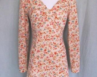 Vintage Long-sleeved Floral Minidress 1960s