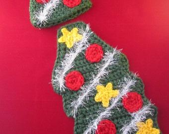 Christmas Tree Handmade Crocheted Baby Cape Set/ Newborn Photography Prop