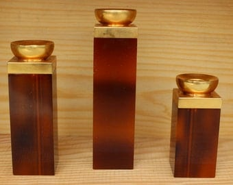 Mid Century Modern Set of 3 Amber Butterscotch and Brass Staggered  Candleholders