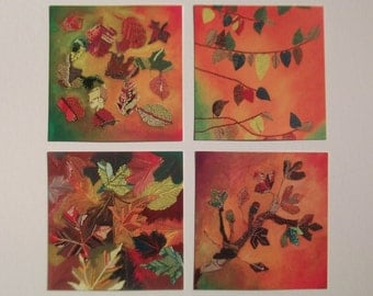 wall prints collections - autumn wall hangings - fall home interior - leaf art decor - mixed media branch - orange gallery wall
