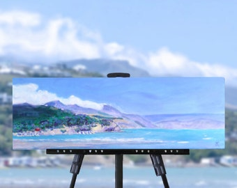 New Zealand beach painting, original art on stretched canvas, land sea sky, landscape painting, seascape, NZ artist, free shipping
