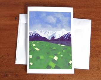 New Zealand note card, winter landscape, NZ scenery, art print from an original painting, affordable art to frame