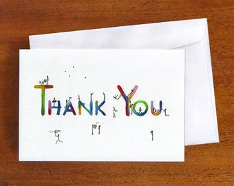 Thank You Card, makeforgood charity fundraiser, Blank greeting card, colourful stick figure note card