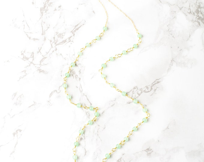 Quartz and Green Aventurine Gold Chain Necklace with 14Kt Chain Detail