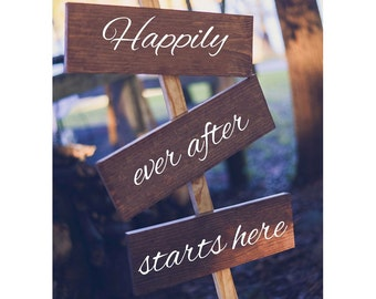 Happily Ever After Starts Here. Rustic Wedding Decor. Outdoor Wedding. Summer Wedding. Fall Wedding. Rustic.