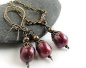 Vintage Influence Burgundy Pearl Necklace and Earrings Set, Oxidized Brass Tiny Bow with Pearl Pendant Choker, Pearl Drop Earrings, Wedding