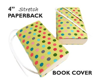 "Book Gifts for Readers, Book Sleeve Paperback Books GREEN POLKA DOT 4"" Book Pouch, Book Protector, Stretch Fabric Book Cover, Book Jacket"