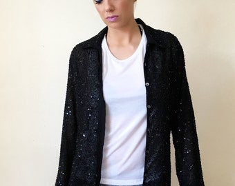 Vintage Beaded + Sequin Button Up Shirt or Blazer