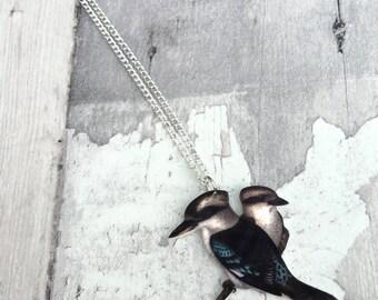 Laughing Kookaburra Kingfisher Necklace Vintage Print