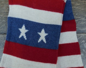 Vintage Wool Stars & Stripes American Flag Winter Scarf in Cream, Red and Blue