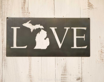 Love Michigan Steel Sign